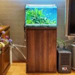 個人宅のリビングに45cm淡水魚水槽を設置